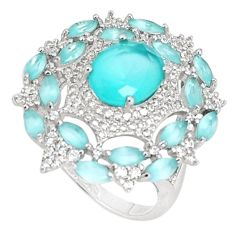 11.23cts natural aqua chalcedony topaz 925 sterling silver ring size 9 c19998