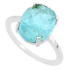 5.41cts natural aqua raw aquamarine rough 925 sterling silver ring size 7 r88922