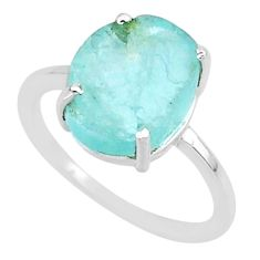 5.05cts natural aqua raw aquamarine rough 925 sterling silver ring size 7 r88923
