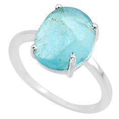 4.78cts natural aqua raw aquamarine rough 925 sterling silver ring size 7 r88927