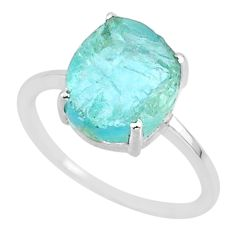 5.47cts natural aqua raw aquamarine rough 925 sterling silver ring size 8 r88921