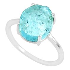 4.84cts natural aqua raw aquamarine rough 925 sterling silver ring size 8 r88925