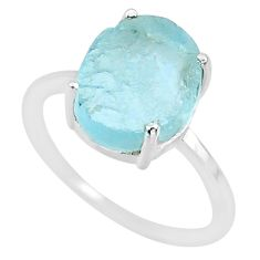 5.13cts natural aqua raw aquamarine rough 925 sterling silver ring size 8 r88926