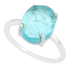 5.41cts natural aqua raw aquamarine rough 925 sterling silver ring size 8 r88932