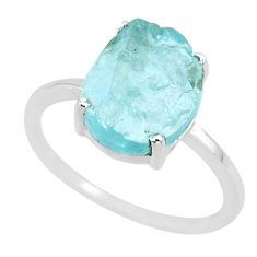 4.61cts natural aqua raw aquamarine rough 925 sterling silver ring size 8 r88933