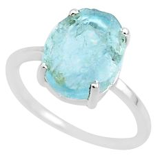5.07cts natural aqua raw aquamarine rough 925 sterling silver ring size 8 r88936