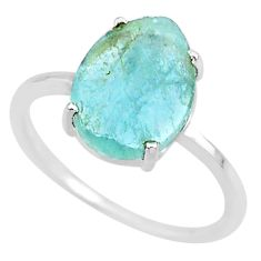 4.67cts natural aqua raw aquamarine rough 925 sterling silver ring size 9 r88938