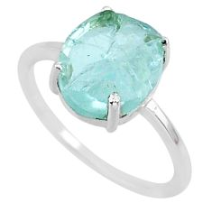 5.42cts natural aqua raw aquamarine rough 925 sterling silver ring size 9 r88940