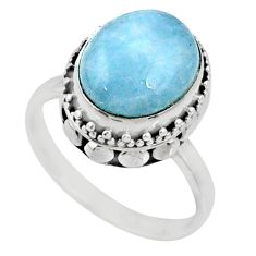 5.08cts natural aquamarine 925 silver 925 silver solitaire ring size 7.5 r64681