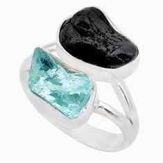 10.78cts natural aquamarine black tourmaline raw silver ring size 7 t21004