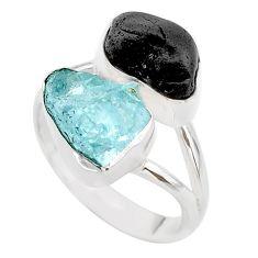 11.21cts natural aquamarine black tourmaline raw silver ring size 8 t21003