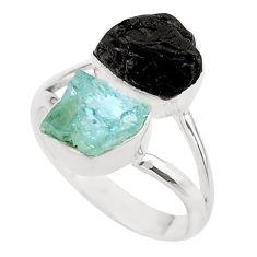 10.78cts natural aquamarine black tourmaline raw silver ring size 8 t21006