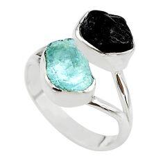 10.37cts natural aquamarine black tourmaline raw silver ring size 8 t21018