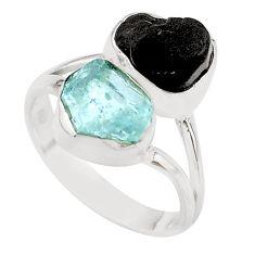 10.78cts natural aquamarine black tourmaline raw silver ring size 8 t21019