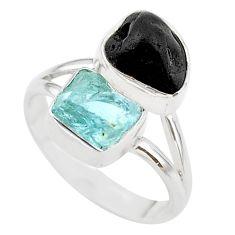 11.66cts natural aquamarine black tourmaline raw silver ring size 9 t21001
