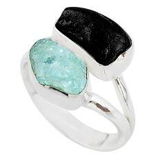 10.78cts natural aquamarine black tourmaline raw silver ring size 6.5 t21007