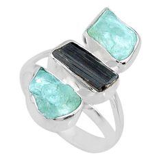 11.07cts natural aquamarine raw tourmaline rough silver ring size 7.5 r73785