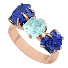 9.87cts natural aquamarine raw 14k rose gold handmade ring size 7 t34909