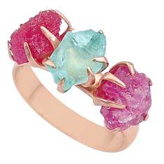 9.41cts natural aquamarine raw 14k rose gold handmade ring size 7 t34915
