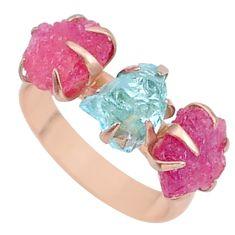 8.23cts natural aquamarine raw 14k rose gold handmade ring size 7 t34925