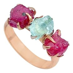 11.18cts natural aquamarine raw 14k rose gold handmade ring size 9 t34916