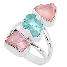 13.55cts natural aquamarine raw rose quartz rough silver ring size 7 t37741