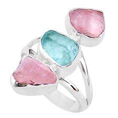 13.04cts natural aquamarine raw rose quartz rough silver ring size 7 t37743