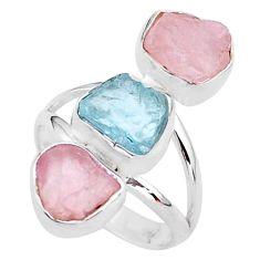 12.95cts natural aquamarine raw rose quartz rough silver ring size 7 t37744