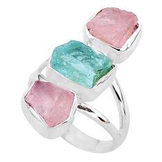 13.43cts natural aquamarine raw rose quartz rough silver ring size 7 t37757