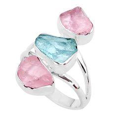 12.93cts natural aquamarine raw rose quartz rough silver ring size 8 t37742