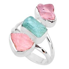 13.06cts natural aquamarine raw rose quartz rough silver ring size 8 t37748