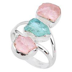 12.90cts natural aquamarine raw rose quartz rough silver ring size 8 t37752