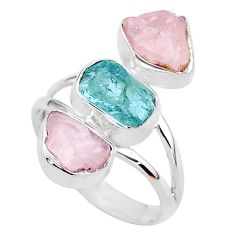 13.06cts natural aquamarine raw rose quartz rough silver ring size 9 t37749