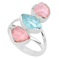 13.09cts natural aquamarine raw rose quartz rough silver ring size 9 t37750