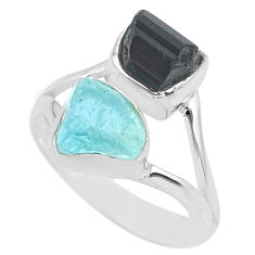 9.57cts natural aquamarine rough tourmaline rough 925 silver ring size 7 t36773