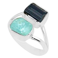 9.53cts natural aquamarine rough tourmaline rough 925 silver ring size 8 t36775