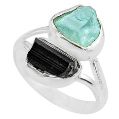 9.98cts natural aquamarine rough tourmaline rough 925 silver ring size 9 t36771