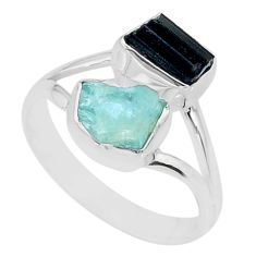 8.09cts natural aquamarine rough tourmaline rough silver ring size 8.5 t36800
