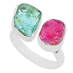 9.29cts natural aquamarine ruby raw silver adjustable ring size 7.5 t35203