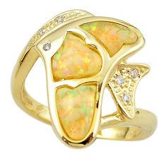 Natural australian opal (lab) 925 silver 14k gold fish ring size 7 a61122 c15139