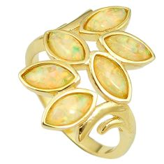 Natural australian opal (lab) 925 silver 14k gold ring size 9.5 a61142 c14985