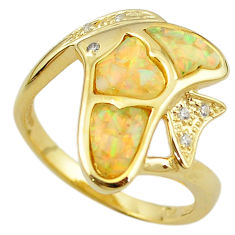 Natural australian opal (lab) 925 silver gold fish ring size 9.5 a61130 c15124