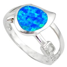 Natural blue australian opal (lab) white topaz 925 silver ring size 8.5 c15859