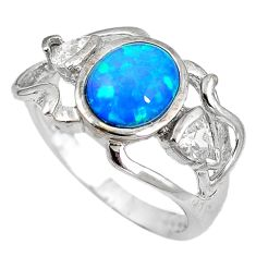 Natural australian opal (lab) white topaz 925 silver ring size 7 a61421 c14959