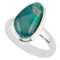 5.54cts natural australian opal triplet 925 silver ring size 8.5 r42501