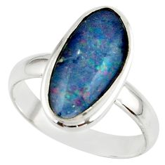 6.37cts natural australian opal triplet 925 silver ring size 8.5 r42505