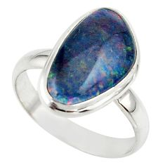6.44cts natural australian opal triplet 925 silver ring size 8.5 r42507