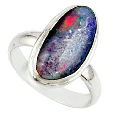 6.04cts natural australian opal triplet 925 silver ring size 7.5 r42508