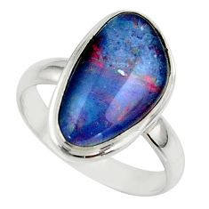 6.70cts natural australian opal triplet 925 silver ring size 8.5 r42512