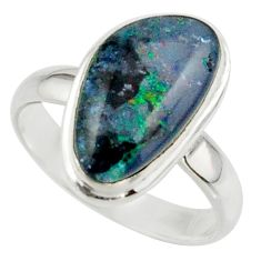 5.95cts natural australian opal triplet 925 silver ring size 7.5 r42514